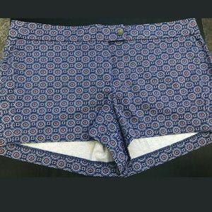J Crew Blue Red Geometric Print Stretch Shorts 14